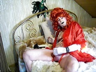 Faggot on furbed with bare clitty cumshoot...