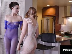 Brunette Lily Labeau And Redhead Penny Pax Milk A Big Cock!