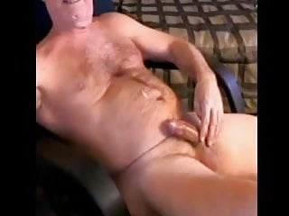 Daddy guy shoots his load chest solo cam...