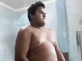 Chubby playing music and masturbating at the same time