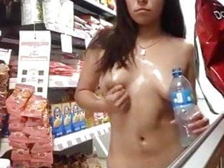Mastubating Nude in Store