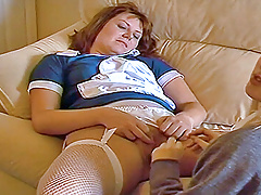 Older wife plays with a younger British teen