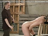 Teen gets her ass spanked by master and orgasms with dildo