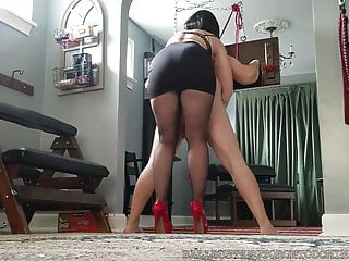 Cross Bound in and Ballbusted Bastienne Pantyhose Heels and