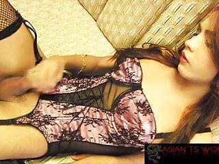 Petite redhead trans in lingerie