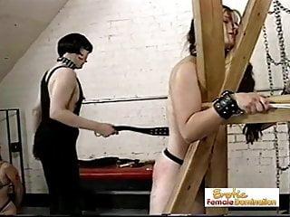 Girl slaves dominated merciless shemale...