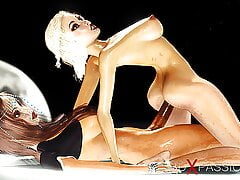 Sci-fi – hot shemale plays with a sexy girl
