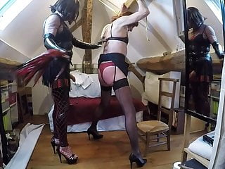 Dominatrix shemale whip tied...
