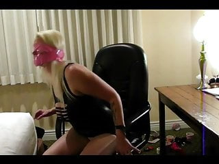 Girl tied to office chair...