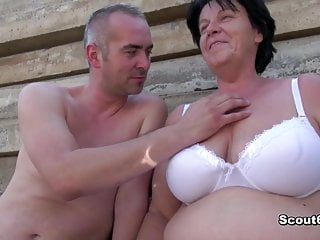 German old get caught and fucked outdoor...