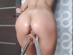 Girl orgasm with Fucking machine