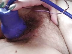Inflatable Fake Penis Opens Up Fur Covered Pussy