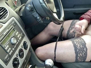 Wanking on carpark in stockings heels caught out by ex wife