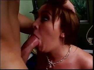 Redhead with big jugs takes thick cock up her ass hole and swallows load