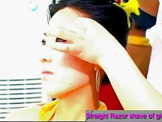 Hottie Bitch Armpits hair Shaved by Barber by a Straight Razor.