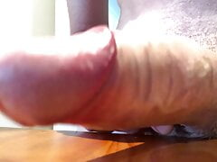 Using pre-cum as lube on my big white cock (with cumshot)