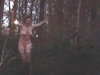 Eva Pyrnokoki's titties are flopping around in the forest