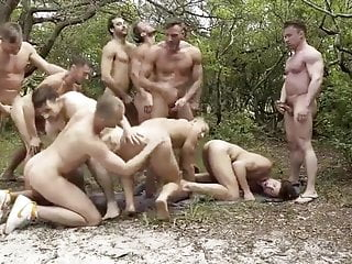 American outdoor bareback gay orgy
