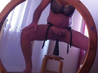 Fake tits in front of mirror with my...