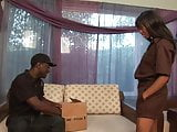 Slender black bitch gets nailed hard on the couch