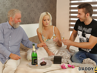 DADDY4K. Taboo sex of belle including boyfriend's daddy ends with cumshot