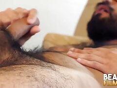 BEARFILMS Blindfolded Gay Bear Avi Strider Masturbates Solo