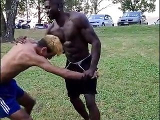Sexy fight between guys and the stays under...