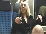 Horny Blonde Masturbates on Public Train gets Big Facial