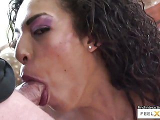 Blowjob Pornstar Big Ass video: Curly brunette milf Desiree rides that cock in cowgirl