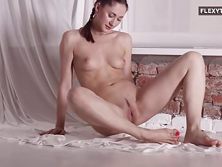 brunette with hairy pussy stretching on the...