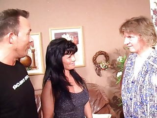German Mom Couple Pound in front of Maid together with she joins in for a orgy