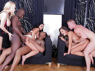 Anal whores enjoy a wild interracial dp party...