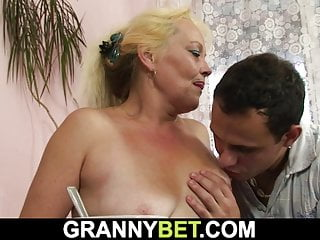 blonde hairy gives him Old her up granny cunt