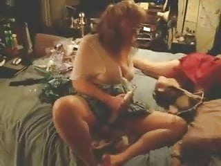 Mature lesbians masturbating on bed