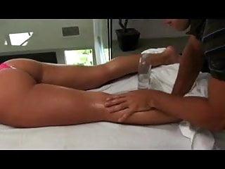bimbo blond gets massage fuck and facial