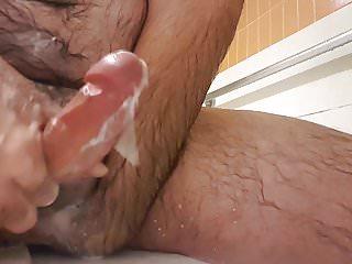 Soapy jerk off in shower nice cum shot...