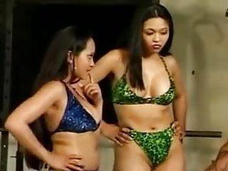 Asian ffm threesome fuck facial...