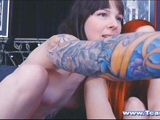 Redhead chick gives tranny friend a blowjob...