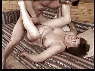 Busty hairy granny play with man