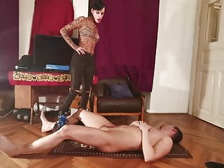 Cock stomping & ball kicking by sexy domina w huge boots pt1