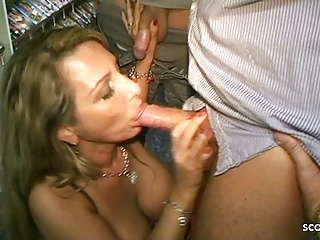 German Old Bang with two Stranger Enormous Titties at Videothek