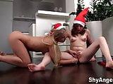 Shy Angela - Lesbian teens Christmas fun