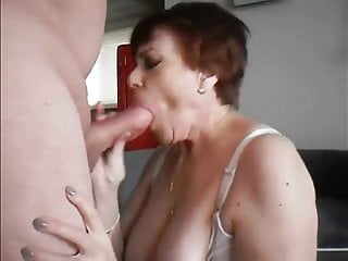 of Cum in Gets Stockings Granny Two Loads