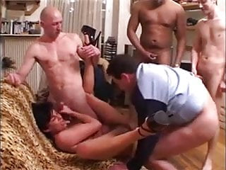 French milf wants anal gangbang