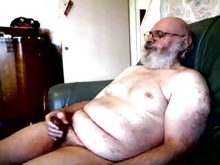 Old silver daddy bear jerking...