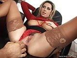 Secretary Mandy in red high heel sandals screws her boss