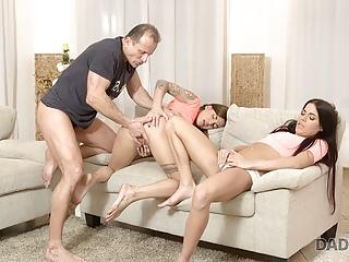 has stepdaughte Handsome stepdad with FFM threesome DADDY4K