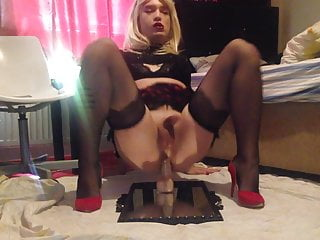 Sexy Blonde Stockings School Girl Sissy Cd Femboy Hot On Cum