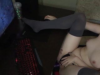 Whilst Gamer Whore Performs, Obedient Man Bangs Her With A Tremendous Fuck toy