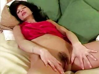 Fingering Flashing Brunette video: horny Simona masturbates her shaggy pussy at home